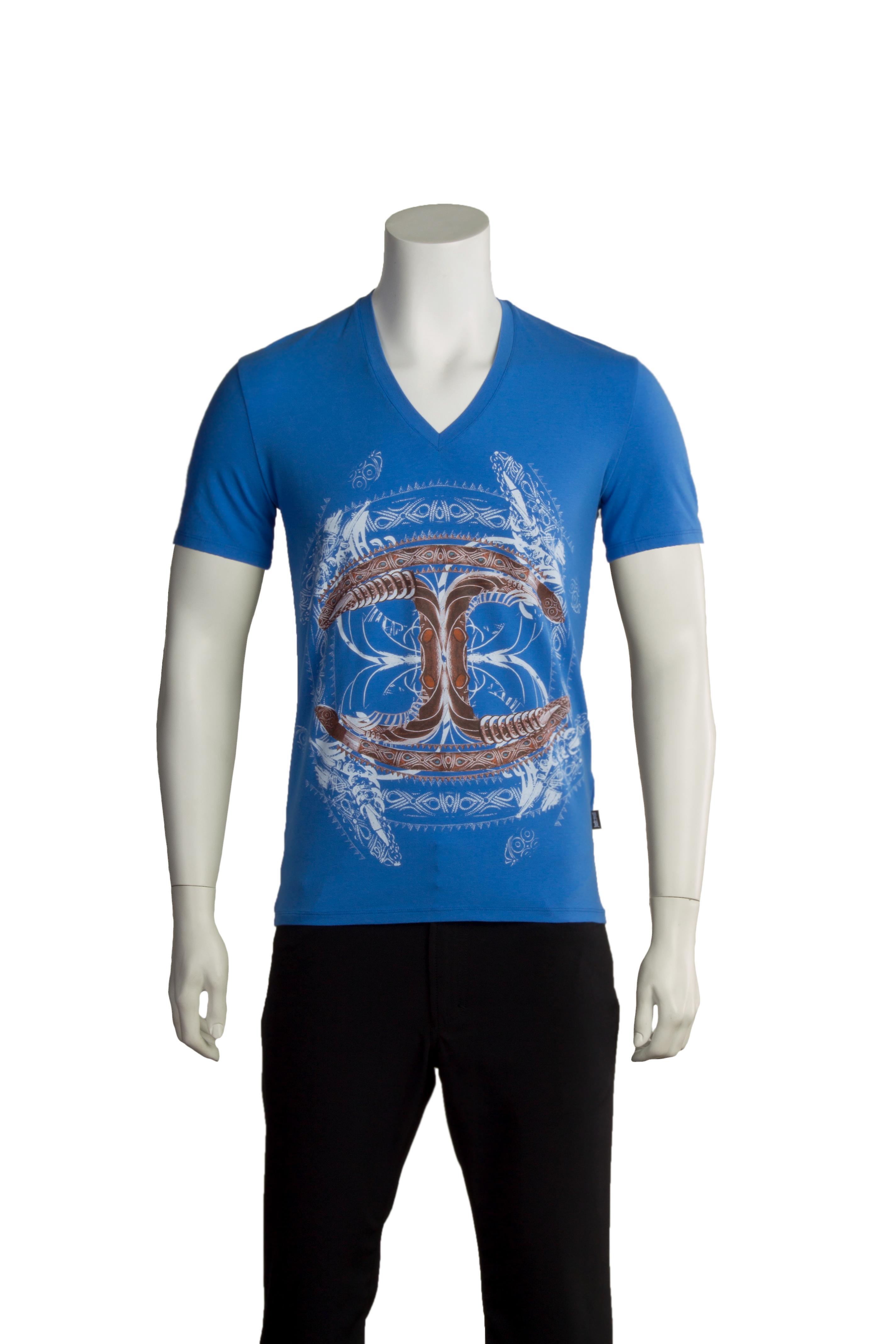 Just Cavalli Men Cultured V-Neck Shirt Blue