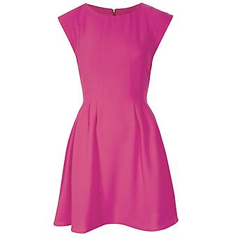 Topshop Cream Regular Crepe Seam Flippy Dress