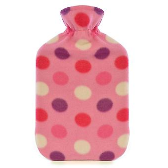 Kinderen kwaliteit zachte Polka Dot Fleece gedekt natuurrubber Hot Water Bottle