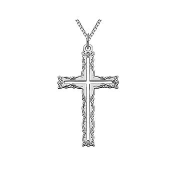 14K White Gold Laser Designed Cross Pendant Necklace with Chain