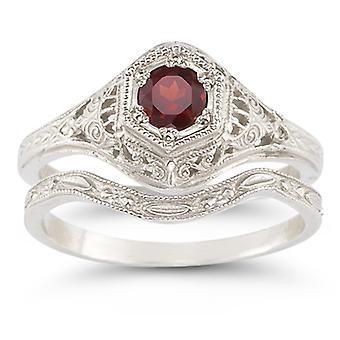 Garnet Bridal Wedding Ring Set in 14K White Gold