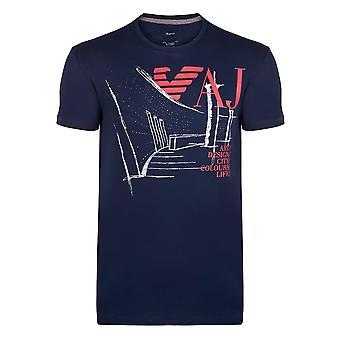 Armani Lacivert Grafik Erkek T-Shirt