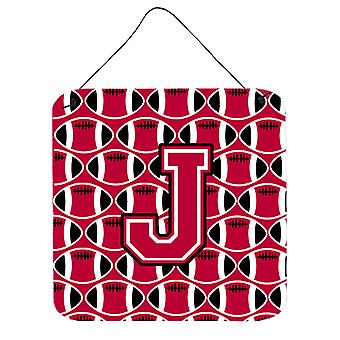 Buchstabe J Fußball Crimson und weiße Wand oder Tür hängen Drucke
