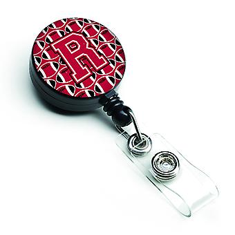 Letter R Football Crimson and White Retractable Badge Reel
