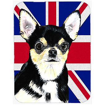 Chihuahua with English Union Jack British Flag Glass Cutting Board Large Size