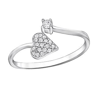 Heart Micro Pave - 925 Sterling Silver Jewelled Rings - W30528X