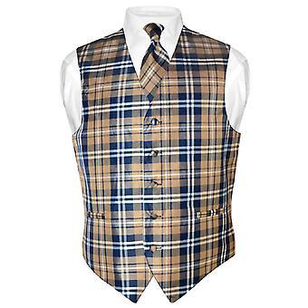 Miesten ruudullinen Design mekko liivi & kravatti kaula solmio asetettu