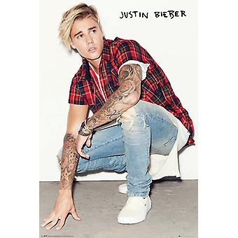 Justin Bieber Crouch Poster Poster Print