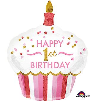 Anagram 1st Birthday Cupcake Girl Supershape Balloon