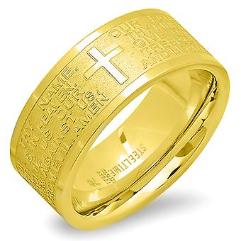 Ladies 18K Gold Plated Stainless Steel Our Father Prayer Ring