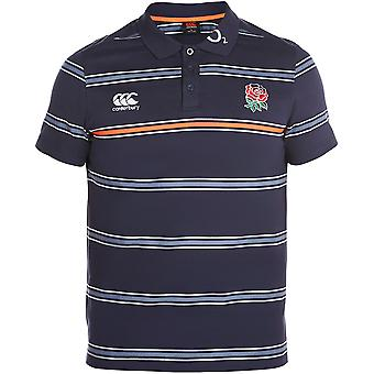 Canterbury Mens England Striped Logoed Cotton Jersey Polo Shirt