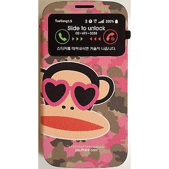 Original Paul Frank® Visa väska täcker konst läder för Samsung Galaxy S4 / LTE med Design Camo rosa