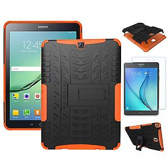 Hybrid outdoor Bag Orange for Samsung Galaxy S2 9.7 SM T810 + 0.4 tempered glass