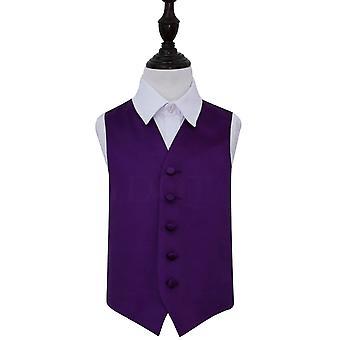 Purple Plain satijn bruiloft vest voor jongens