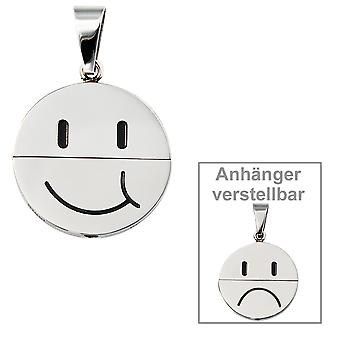 Chain pendant for necklace HAPPY stainless steel black enamel inlay