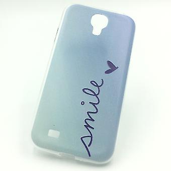 Handy Hülle für Samsung Galaxy S4 Cover Case Schutz Tasche Motiv Slim Silikon TPU Schriftzug Smile Blau