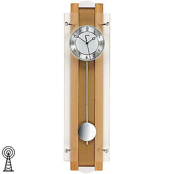 Radio controlled wall clock with pendulum beech aluminium mineral glass diamond rotated dial