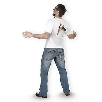 Halloween T-Shirt Dead or Alive (Größe M) weiß, 100% Polyester, mit Messerreplika und Blutspuren auf der Rückseite