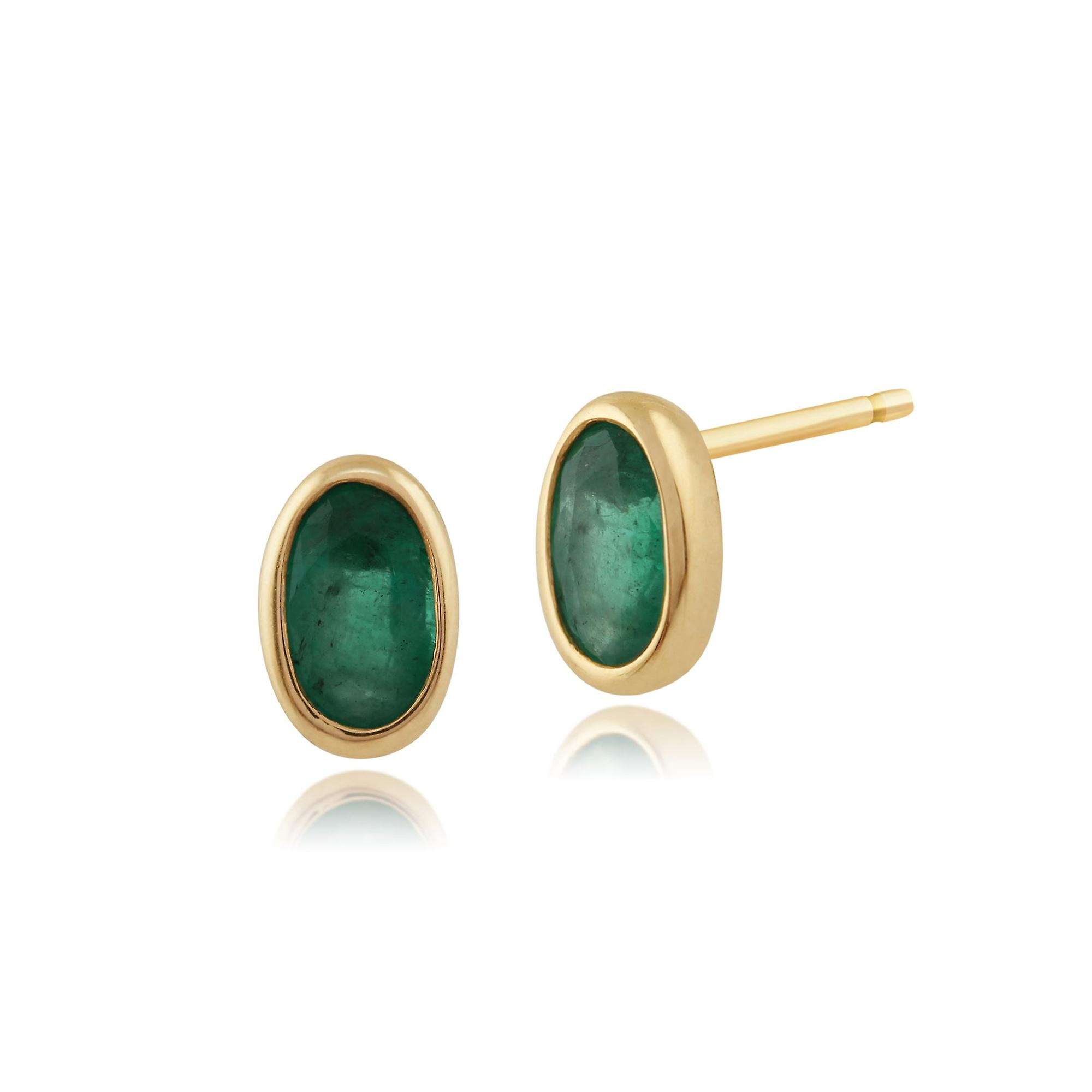 9ct Yellow Gold 0.51ct Natural Emerald Framed Oval Stud Earrings