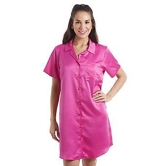 Camille Luxurious Knee Length Pink Satin Nightshirt