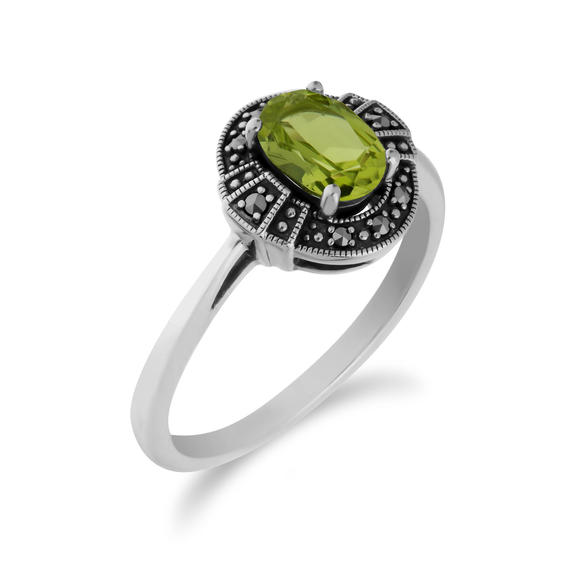 Gemondo Sterling Silver Oval Peridot and Marcasite Cluster Ring