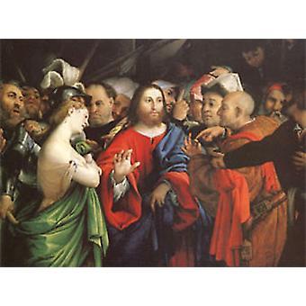 Christus und die Frau in Ehebruch genommen, Lorenzo Lotto