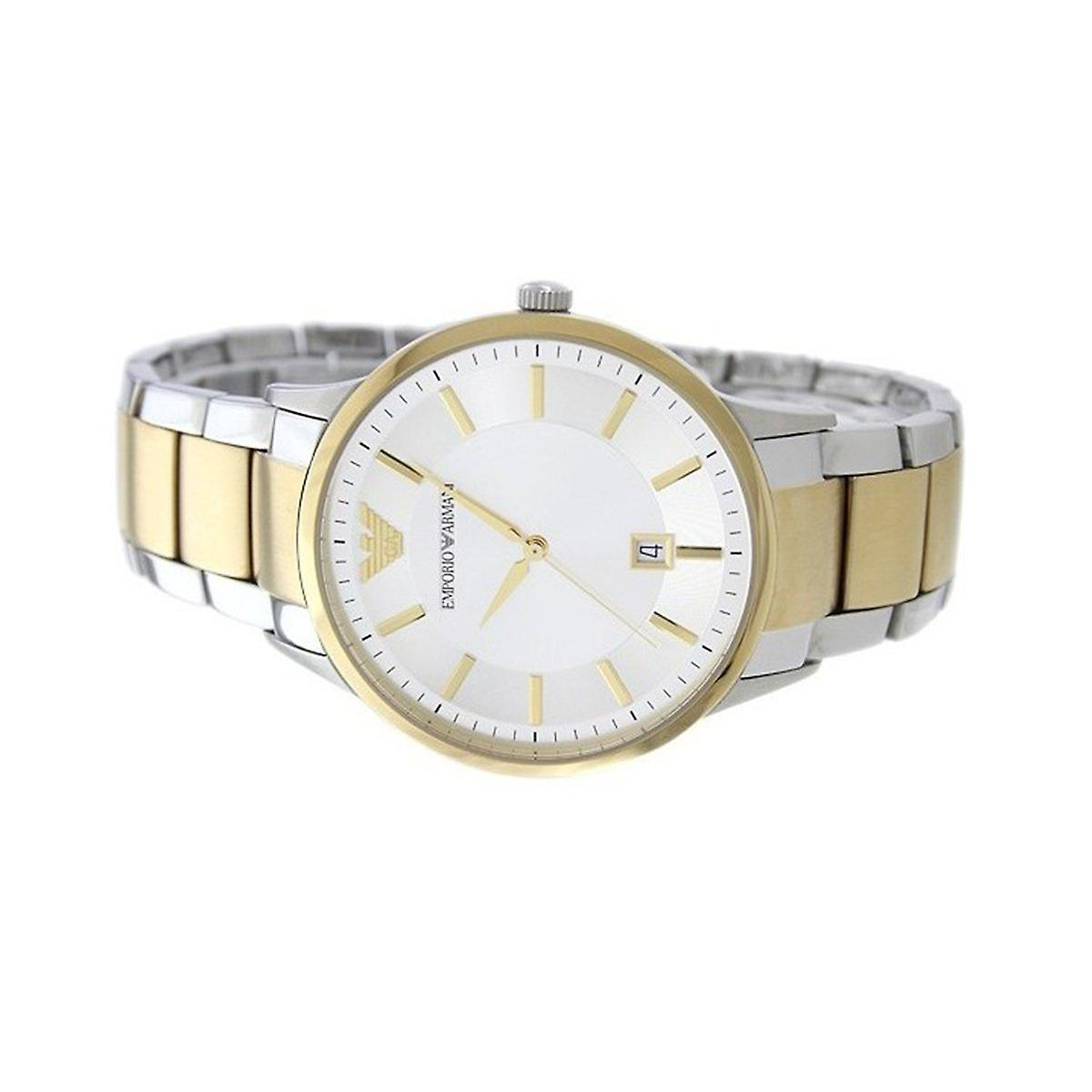 Emporio armani gents ar2449 watch two tone stainless steel bracelet with silver dial