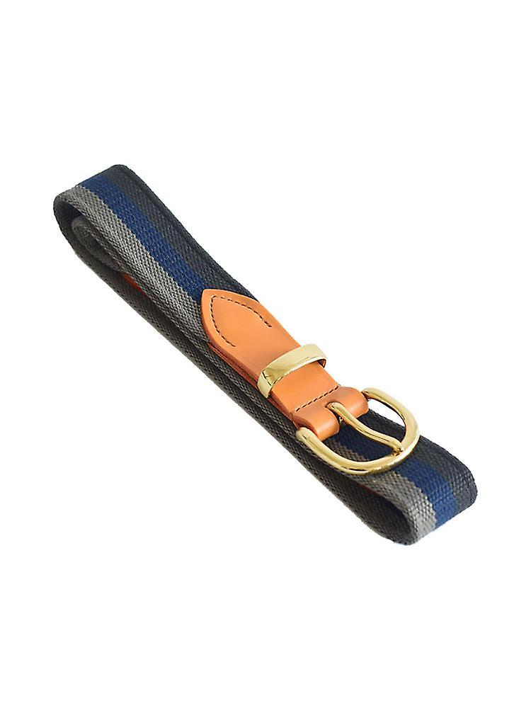 Blue and grey stripes woven canvas belt