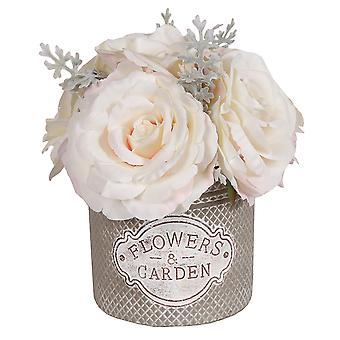 White Roses in Decorative Round Pot, Large
