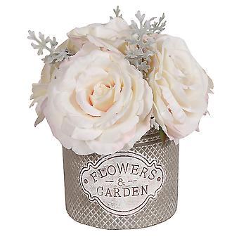 Hvide roser i dekorative runde Pot, store