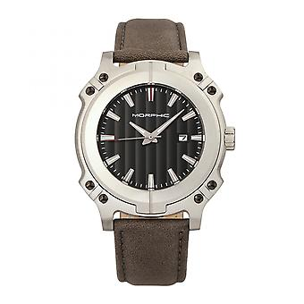 Morphic M68 Series Leather-Band Watch w/ Date - Silver/Grey