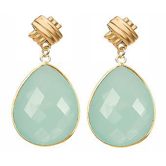 Gemshine örhängen Sea Green chalcedony ädelsten droppe 925 silver eller guldpläterad