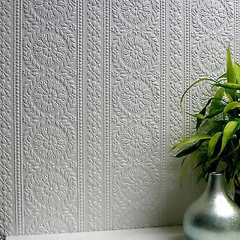 Paintable Flower Wallpaper Luxury Textured Vinyl Embossed Townsend Anaglypta