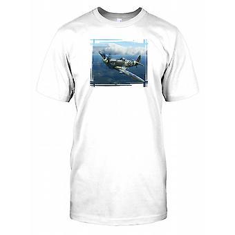 Supermarine Spitfire Flying Artwork Kids T Shirt