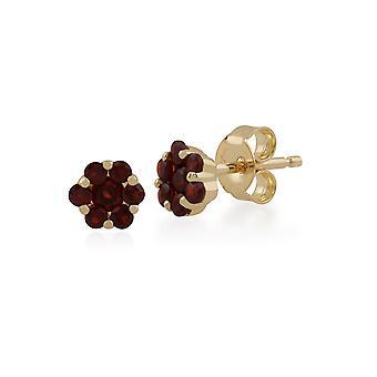 Gemondo 9ct Yellow Gold 0.36ct Garnet Floral Stud Earrings