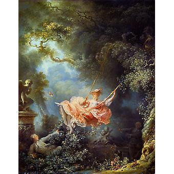 De schommel, Jean Honore Fragonard, 50x40cm