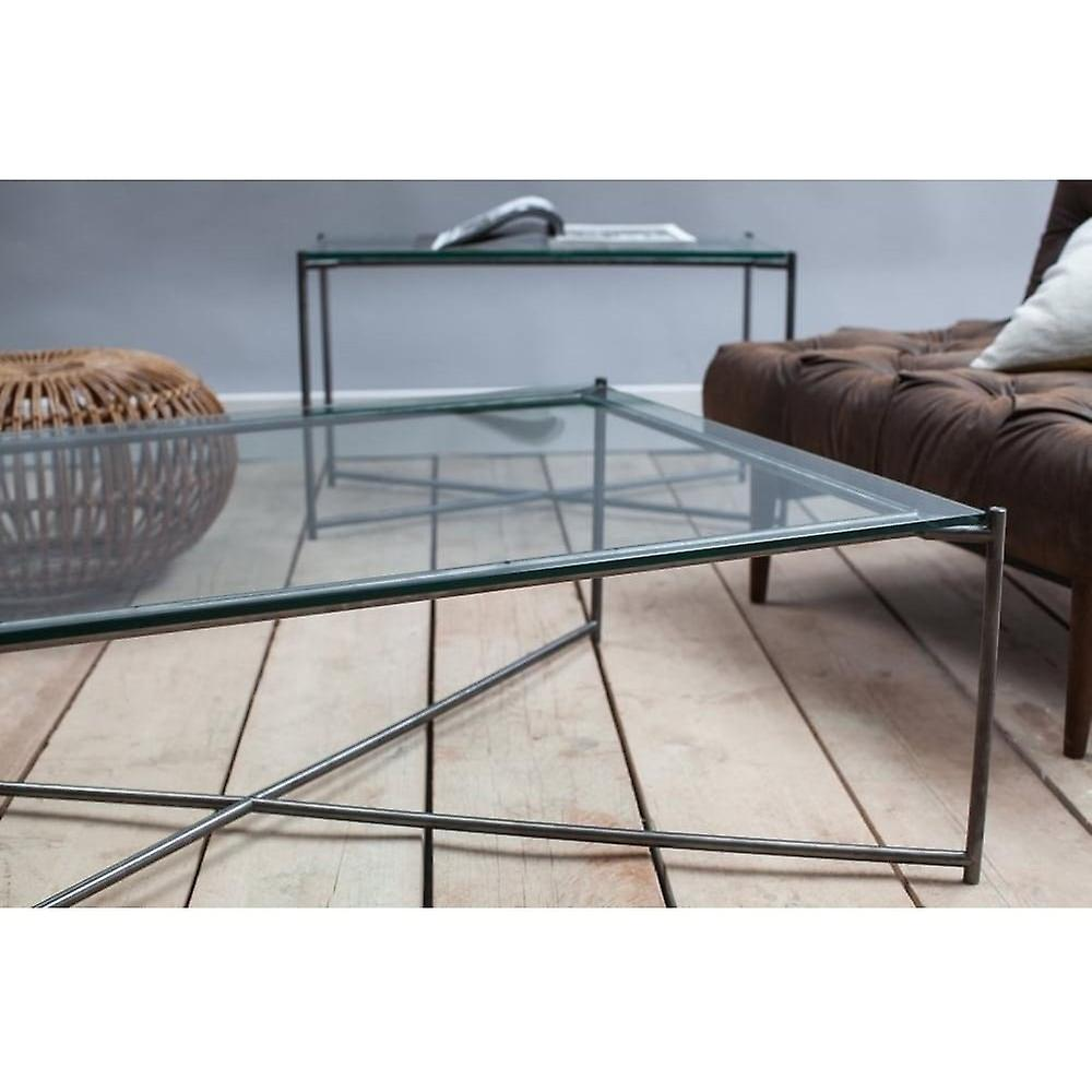 Gillmore Clear Glass Large Console Table With Gun Metal Cross Base