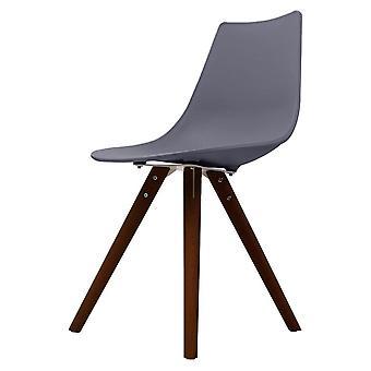 Fusion Living Iconic Dark Grey Plastic Dining Chair With Dark Wood Legs