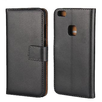 Wallet Case Huawei P10 Lite, genuine leather, black