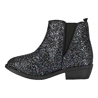 Bebe meisjes Chunky glitter enkellaarsjes met elastische jurk schoenen