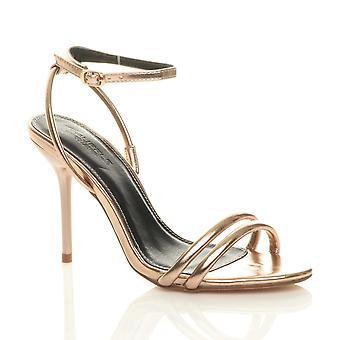 Ajvani Womens hög klack knappt där fotled rem fest sandaler