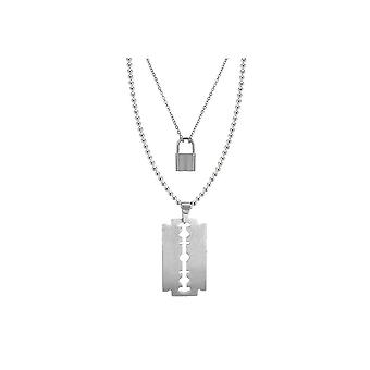 Attitude Clothing Razor Blade & Padlock Necklace Set