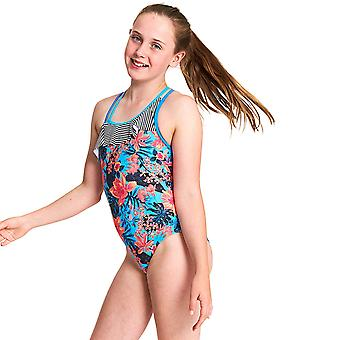 Zoggs Girls Wunderlust Frill Crossback One Piece Swimsuit - Multi