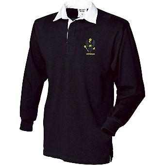 Kings Royal Hussars Veteran - Camisa de rugby de manga larga bordada con licencia del ejército británico