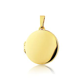 Jewelco London 9ct Yellow Gold - Polished Classic Round Locket Pendant 20mm