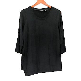 H by Halston Women's Top Scoop Neck French Terry Tunic Black A305350