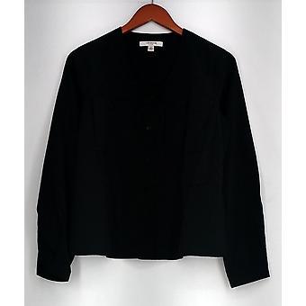 Liz Claiborne top lange mouw knop ingedrukt shirt zwart