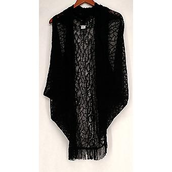 Meghan Fabulous Lace Knit Open Front Fringed Shrug Black Sweater A217239