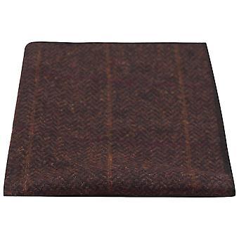 Praça de bolso seleção luxo mogno Herringbone, lenço, Tweed