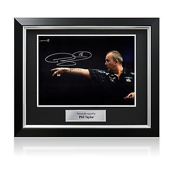 Phil Taylor Signed Darts Photo: Feel The Power. In Deluxe Frame